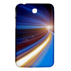 Glow Motion Lines Light Blue Gold Samsung Galaxy Tab 3 (7 ) P3200 Hardshell Case  by Alisyart