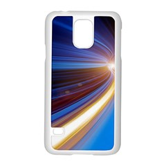 Glow Motion Lines Light Blue Gold Samsung Galaxy S5 Case (white)