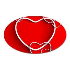 Heart Love Valentines Day Red Oval Magnet