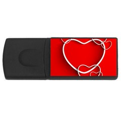 Heart Love Valentines Day Red Usb Flash Drive Rectangular (4 Gb)