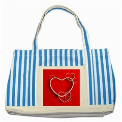 Heart Love Valentines Day Red Striped Blue Tote Bag by Alisyart