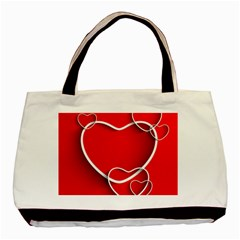 Heart Love Valentines Day Red Basic Tote Bag (two Sides) by Alisyart