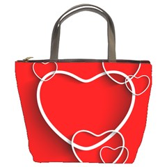 Heart Love Valentines Day Red Bucket Bags