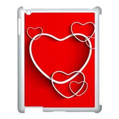 Heart Love Valentines Day Red Apple Ipad 3/4 Case (white)