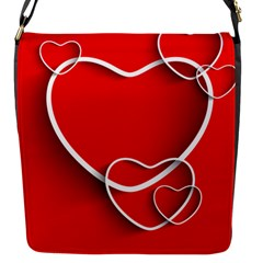 Heart Love Valentines Day Red Flap Messenger Bag (s) by Alisyart