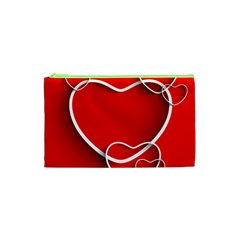 Heart Love Valentines Day Red Cosmetic Bag (xs)