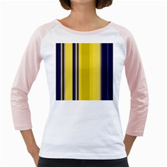 Yellow Blue Background Stripes Girly Raglans