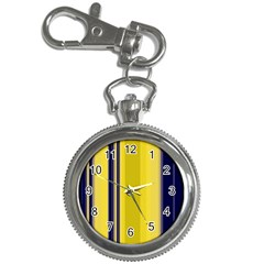 Yellow Blue Background Stripes Key Chain Watches by Simbadda