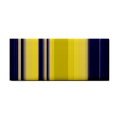 Yellow Blue Background Stripes Cosmetic Storage Cases by Simbadda