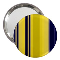 Yellow Blue Background Stripes 3  Handbag Mirrors