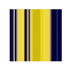 Yellow Blue Background Stripes Small Satin Scarf (square) by Simbadda