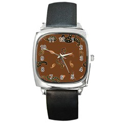 Brown Forms Square Metal Watch
