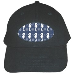 Seahorse And Shell Pattern Black Cap by Simbadda