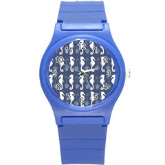 Seahorse And Shell Pattern Round Plastic Sport Watch (s)