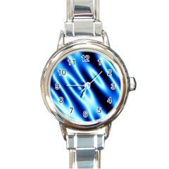 Grunge Blue White Pattern Background Round Italian Charm Watch by Simbadda