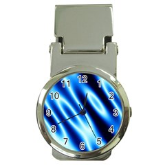 Grunge Blue White Pattern Background Money Clip Watches by Simbadda
