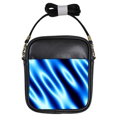 Grunge Blue White Pattern Background Girls Sling Bags by Simbadda