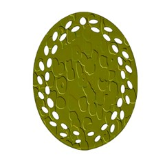 Olive Bubble Wallpaper Background Oval Filigree Ornament (two Sides) by Simbadda