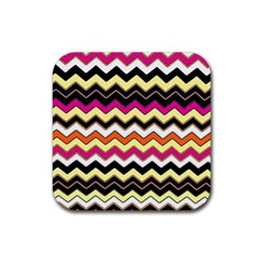 Colorful Chevron Pattern Stripes Pattern Rubber Coaster (square)