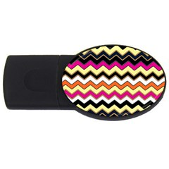 Colorful Chevron Pattern Stripes Pattern Usb Flash Drive Oval (4 Gb) by Simbadda