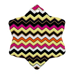 Colorful Chevron Pattern Stripes Pattern Ornament (snowflake) by Simbadda