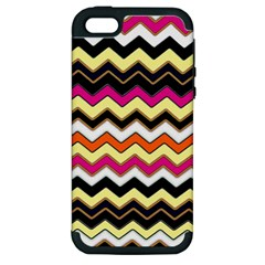 Colorful Chevron Pattern Stripes Pattern Apple Iphone 5 Hardshell Case (pc+silicone)