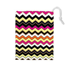 Colorful Chevron Pattern Stripes Pattern Drawstring Pouches (large)  by Simbadda