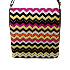 Colorful Chevron Pattern Stripes Pattern Flap Messenger Bag (l)  by Simbadda