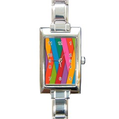 Colorful Lines Pattern Rectangle Italian Charm Watch