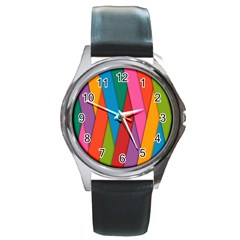 Colorful Lines Pattern Round Metal Watch
