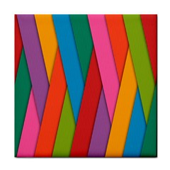 Colorful Lines Pattern Tile Coasters