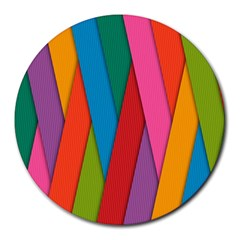 Colorful Lines Pattern Round Mousepads