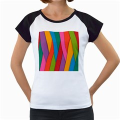 Colorful Lines Pattern Women s Cap Sleeve T