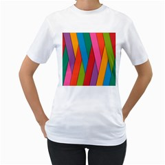 Colorful Lines Pattern Women s T-Shirt (White) (Two Sided)