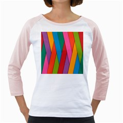 Colorful Lines Pattern Girly Raglans