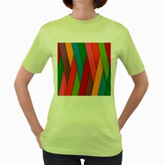 Colorful Lines Pattern Women s Green T-Shirt