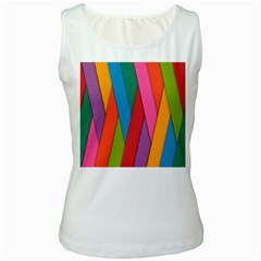Colorful Lines Pattern Women s White Tank Top