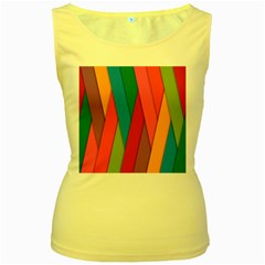Colorful Lines Pattern Women s Yellow Tank Top