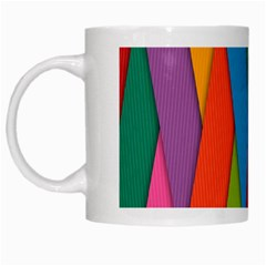 Colorful Lines Pattern White Mugs