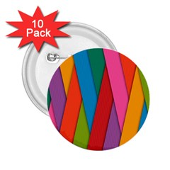Colorful Lines Pattern 2.25  Buttons (10 pack)