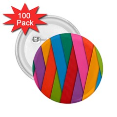 Colorful Lines Pattern 2.25  Buttons (100 pack)