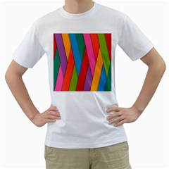 Colorful Lines Pattern Men s T-Shirt (White) (Two Sided)