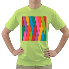 Colorful Lines Pattern Green T-Shirt