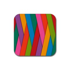 Colorful Lines Pattern Rubber Square Coaster (4 pack)