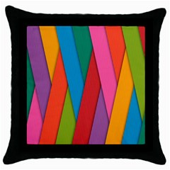 Colorful Lines Pattern Throw Pillow Case (Black)