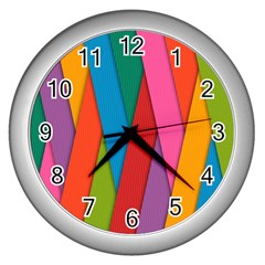 Colorful Lines Pattern Wall Clocks (Silver)