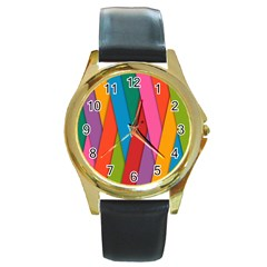 Colorful Lines Pattern Round Gold Metal Watch