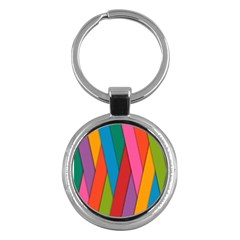Colorful Lines Pattern Key Chains (Round)