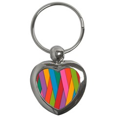 Colorful Lines Pattern Key Chains (Heart)