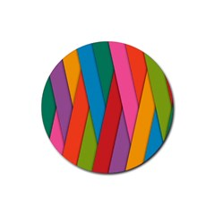 Colorful Lines Pattern Rubber Round Coaster (4 pack)